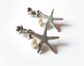 Starfish Freshwater Pearl Clip-On Earrings