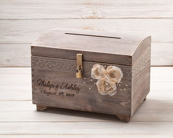 Personalized Card Box with Lock and Key Wedding Card Post Box Large Wooden Box Card Holder Rustic Wooden Chest Card Chest with Card Slot