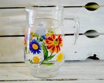 Vintage Glass Pitcher , Wild Flowers , Patio and Garden , 1970 Glassware