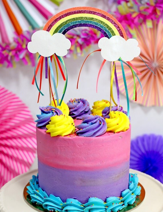 Rainbow Party Cake Topper Unicorn Party Decoration Rainbow