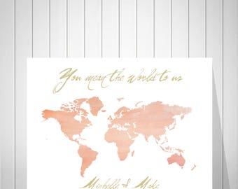 Wedding World Map Signature Guest Book, Bride and Groom Gift, Wedding Anniversary Gift, Watercolor Map Alternative Guest Book - 37077