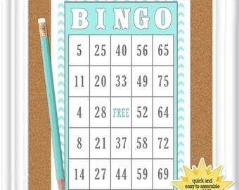 16 card BINGO game, birthday bingo with aqua and white chevrons, party bingo game, (020)