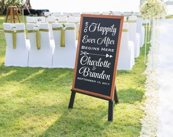 Wedding Sign Decals - Personalized Wedding Decal - Wedding Entrance Decal - Happily Ever After Decal - Wedding Decorations Gold- DECAL ONLY