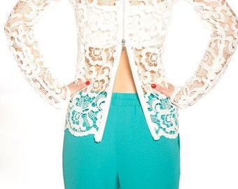 Lace Blouse/Lace Jacket/Extravagant Top/Casual Extravagant Tunic/Lace Vest/Fashion Top/Lace Top/F1060