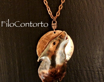 Pendant Necklace Wolf and full moon copper handmade unique gift idea