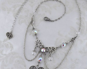 From the heart - Fantasy Victorian Valentines Day necklace - Iridescent and silver - Elegant Heart Necklace