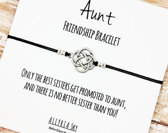 "Charm Friendship Bracelet with ""Only the Best Sisters Get Promoted to Aunt"" Card 
