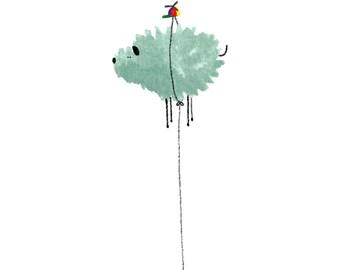Digital print: flying dog