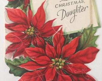 Merry Christmas, Daughter - Vintage Unused 1950s Hallmark Die-Cut Card