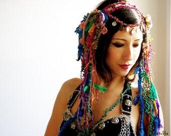 Belly dance costume, Blue head piece, Bellydance Hair Clip, Tribal Fusion Headdress,  Belly dance Hair Accessories, Turquoise Headdress