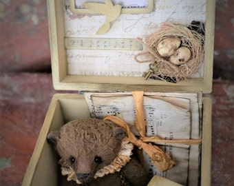 "Bear with box Artist Bear Martin 3,5"" Easter Bear OOAK Artist Bear Viscose Mini Teddy Bear Vintage Miniature Bear"