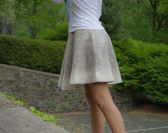 Skirt of wool, Nuno Felted Skirt, Natural Bluefaced Leicester, SJR, Wool clothing, felt wearable art