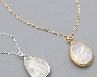 Delicate Moonstone Necklace, Natural Moonstone Pendant, Teardrop Pendant, Layered Gold Necklace, Bridesmaid Gift, Dainty Gemstone B37