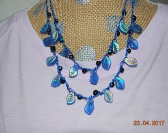 Crocheted necklace, beaded crochet, leaf glass beads, spring/summer jewelry, lightweight necklace