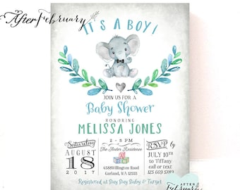 Elephant Baby Shower Invitation Little Peanut Baby Shower Invitation Baby Boy Elephant Shower Invites // Printable OR Printed No.1457BABY