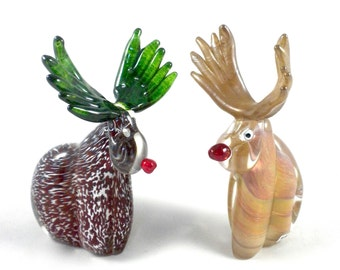 Glass Reindeer- hand sculpted glass, holiday decor, forest, Rudolph, lifelike, red nose, sculpture, red green gold, great 1 of a kind gift