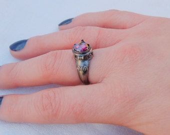 Stunning Gothic Poison ring with secret compartment.  Amethyst or Aquamarine gem.  Most impressive.