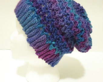 Crochet Soft Slouchy Hat in Purple and Blue