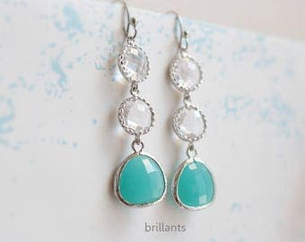 Mint blue and clear stone earrings in silver, Bridesmaid earrings, Wedding jewelry, Wedding earrings, Bridesmaid gift