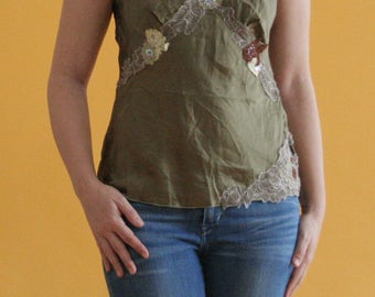 silk cami with floral lace embellishment