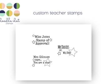 Teacher stamp, Custom Teacher well done stamp, Custom teacher gift, Teacher stationery, Custom Polymer stamp, Personalised teacher stamp