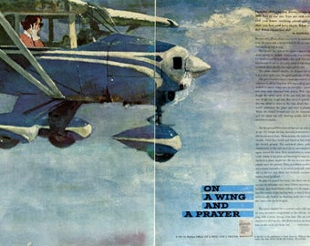 1961 Coby Whitmore Magazine Story Art - Plane Aviation Art - Vintage 1960's Story Illustrations