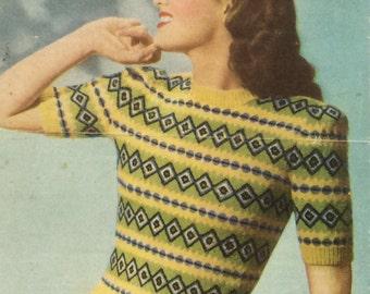 Vintage Weldons Knitting Pattern Ladies Fair Isle Jumper1940s