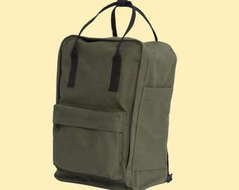 Military Green Cotton Backpack