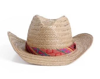 Cowboy hat , Southwest style straw hat , Unisex bohemian summer hats , 100% natural straw.