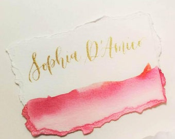Watercolour Calligraphy Place Cards - Wedding Seating Cards - Handwritten Placecards - Wedding Invitation - Gold Writing - Deckled Edges