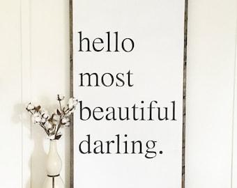 24x48 Hello darling | hello most beautiful darling | Scott Fitzgerald quote | custom wood sign | girl nursery | fixer upper decor