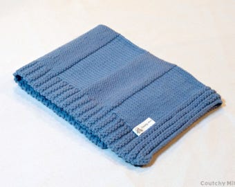 Baby blanket knit blanket blue baby blanket boy baby blanket baby gift baby shower gift newborn gift baby blankie baby knit knit blanket