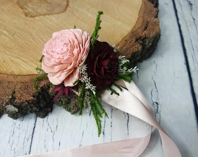 Blush pink burgundy green rustic wedding WRIST CORSAGE bridesmaids mother Sola Flower greenery cypress burlap woodland cedar rose maroon