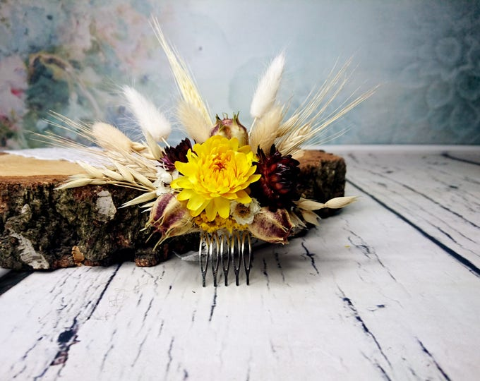 Country wedding HAIR COMB with wheat and dried flowers