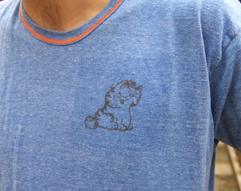 80's LIL GARFIELD blue / orange ringer t-shirt size extra large