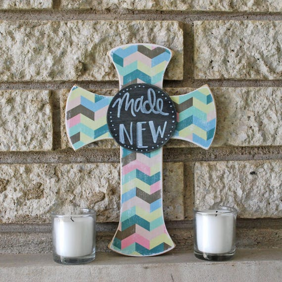 Made New Decoupage Pressed Wood Cross w/Handlettered Center Round * Catholic Christian Inspirational Home Decor * Wall Decor