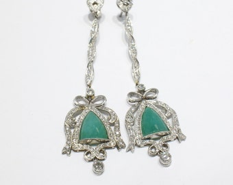 14K White Gold Jade Drop Earrings with Bows