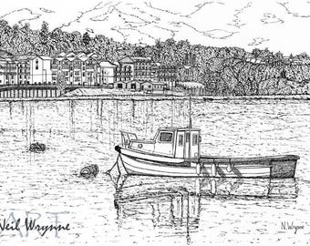 """Pen and Ink Drawing Art Prints - """"Medway Mooring"""" - Leisure Nautical boat Art Water ink drawing Landscape illustration"""