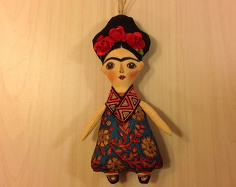 collectible Frida art doll Frida Kahlo art doll Mexican painter mexican artist Diego Rivera handcrafted human figure doll Frida gift