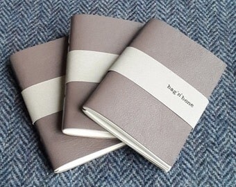Handmade Re-purposed Leather Covered A7 Notebook Journal (Taupe)