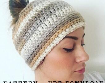 Crochet Pattern > Bun Beanie > Ponytail Beanie > Beginner Pattern
