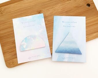 Watercolor Geometry Sticky Notes - Semicircle / Triangle (1 pc) Stationery Kawaii Cute Memo Planner Notepad
