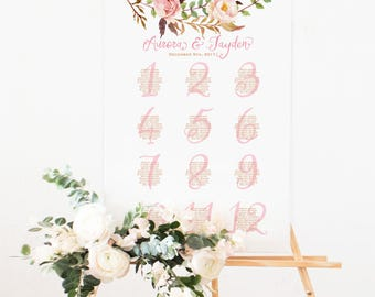 Printable Wedding Seating Chart | Bohemian Blush Watercolor Floral | Pink and Gold | Printable Seating Plan Sign | Wedding Signage