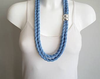 Knit necklaces, cord necklace, loop necklace