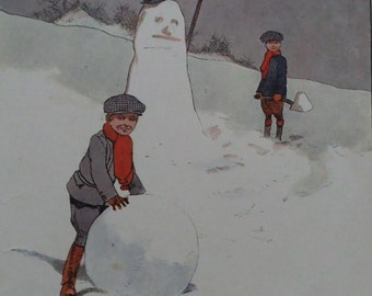 JOHN HASSALL Original Vintage Children's Print - Two Boys Building The SNOWMAN  1910 - Giant Snowball - Matted - Ready to Frame