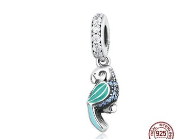 925 Sterling Silver Dangle Tropical Parrot, Mixed Enamels, Teal & Clear CZ Charms fit Pandora Bracelets Women,First Anniversary Gift for Her