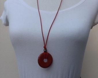 Jasper pendant, red jasper pendant, summer necklace, semi-precious donut pendant, ring pendant, leather pendant, red pendant, donut pendant