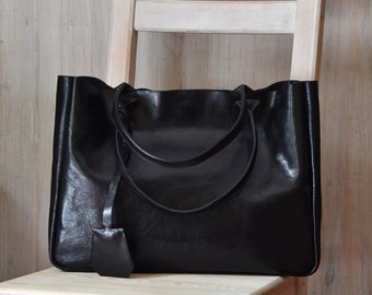 Black Leather Tote Bag – BELLA Black - Medium Size Handmade Leather Tote