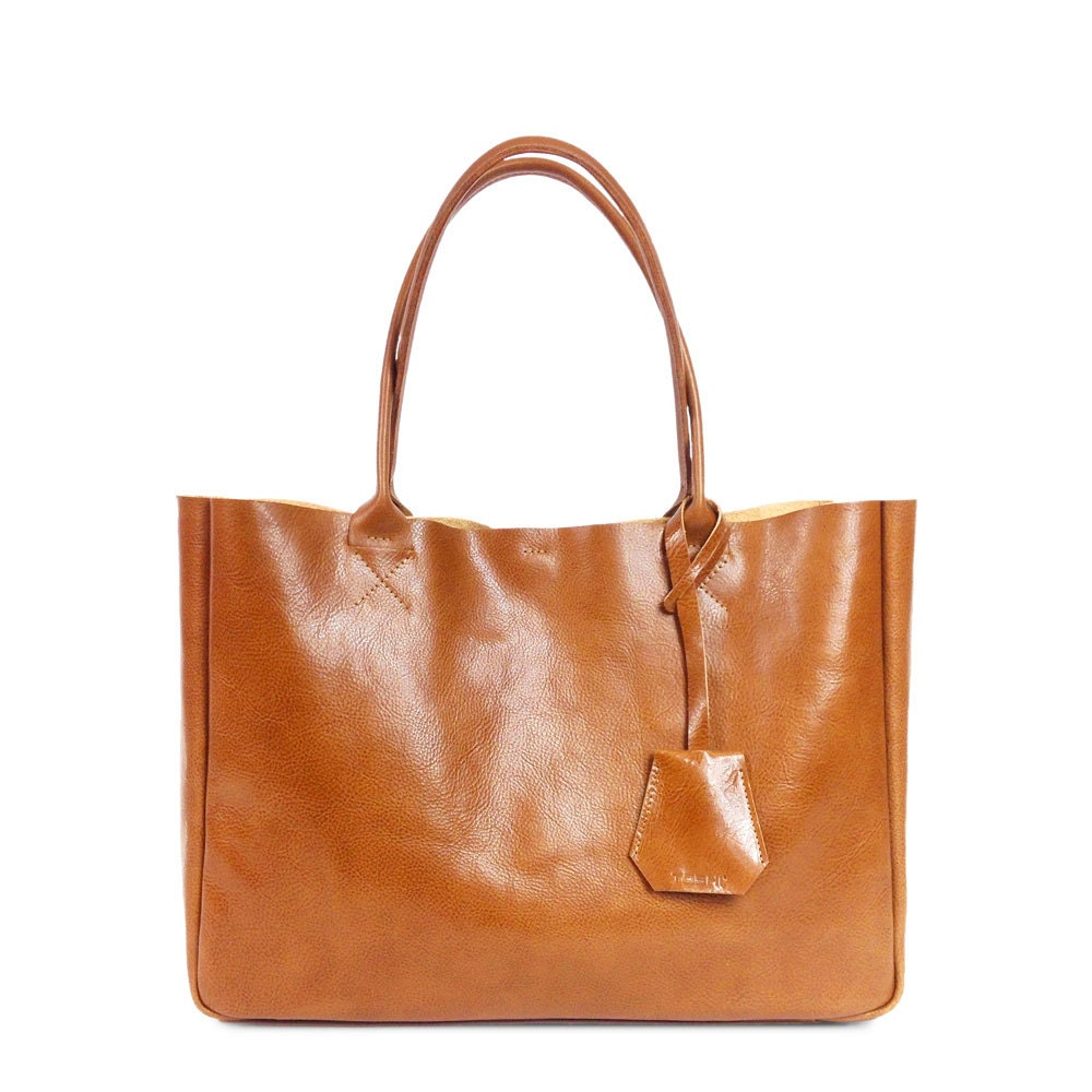 camel brown leather tote bag handmade leather tote by