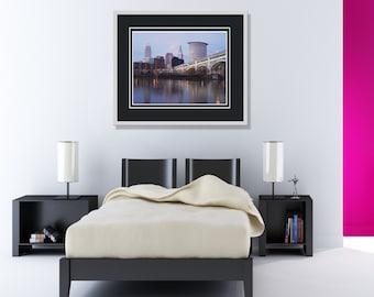 Beautiful Cleveland Ohio Cuyahoga River City Skyline Bridge Reflection Photo Print
